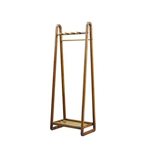 GAXQFEI Storage Shelf Solid Wood Clothing Rack, Modern Simplicity Landing Coat Racks Living Room Bedroom Hanging Garment Rail Fitting Room Hangers Hook up,Brown,170 * 60Cm