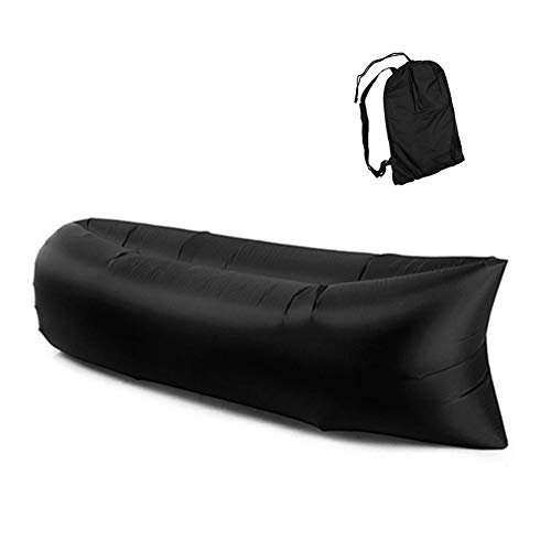 Xloves 260cm Luftsofa Wasserdichtes Aufblasbares Sofa Air Lounger Outdoor-Sofa mit Tragebeutel für Camping-Stuhl, Park, Strand, Hinterhof,Outdoor, Schwarz