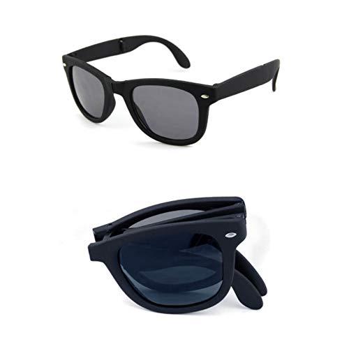 sijiaqi Original Männer Brille Sonnenbrille Gefaltet Design Spiegel Shades Faltbare Sonnenbrillen Klappbrille Frauen Brillen,C1 Black Grey