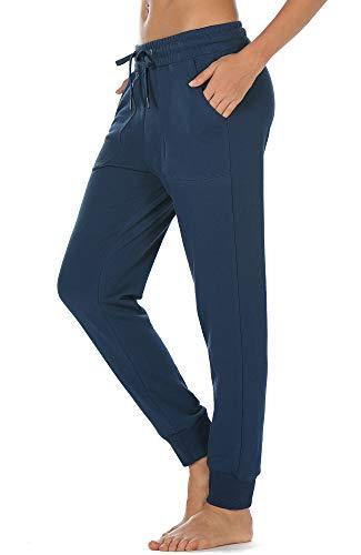 icyzone Damen Jogginghose Baumwolle Lang Sporthose Casual Basics Sweathose (M, Dusty Blue)