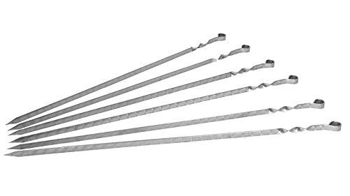 Surtido de 6 Pinchos de Acero Inoxidable Tipo Shampours - 60 cm - Ideal con Mangal Ruso