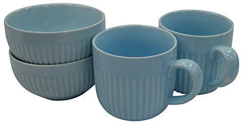 Jeu de 4 Bleu Ondulé Porcelaine Mugs & Bols Set 2 Large Mugs & 2 Bols à Soupe