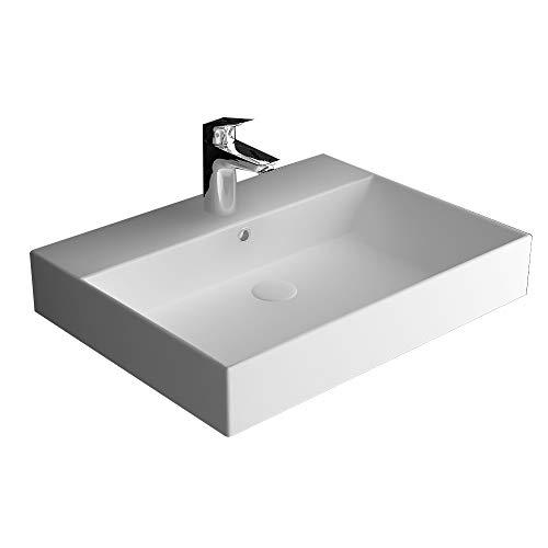 bad1a Alpenberger Aufsatzbecken Sanitäkeramik Handwaschbecken mit integriertem Überlauf | als Aufsatzwaschbecken oder Wandhängend | Leichte Montage