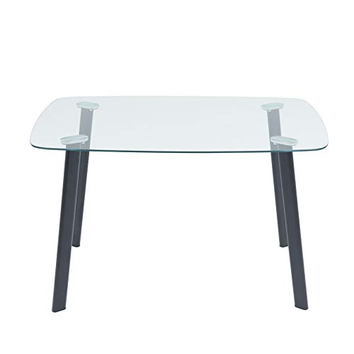 Glas Esstisch ETRE-4B mit abgerundeten Ecken und 4 Beinen in schwarz