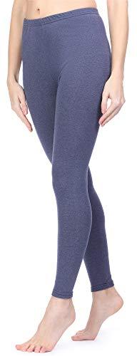 Ladeheid Damen Winterleggings Leggings mit Innenfleece aus Baumwolle LAMA06 (Jeansmelange, XS/S)