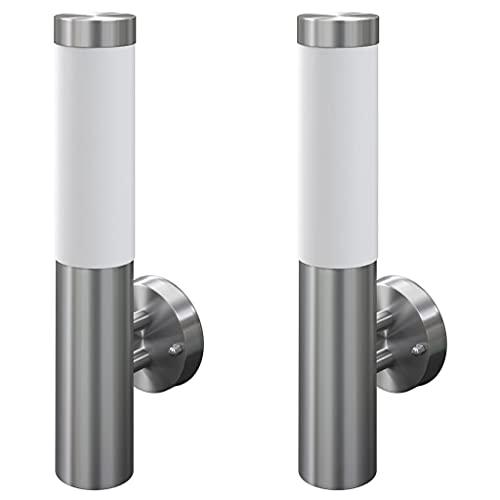 LINWXONGQP Materiale: Acciaio Inox e plastica Lampioncini Moderni da Giardino in Acciaio Inox Interno ed Esterno,2 Illuminazione