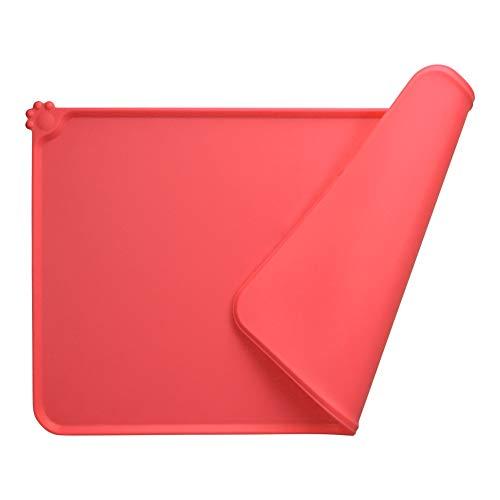 MOACC Tapis Gamelle Chien, Tapis d'Alimentation pour Chat en Silicone aux Normes FDA, Imperméable et Antidérapant, Rouge, 47 X 30 cm