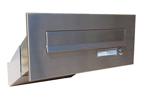 D-041 Edelstahl Mauerdurchwurf Briefkasten mit Klingel (Tiefe: 23-38 cm) - LETTERBOX24.de