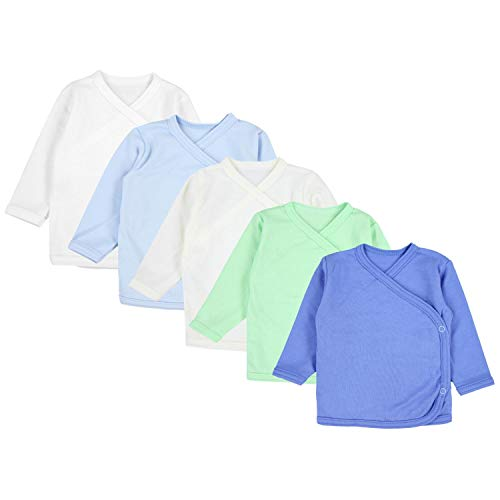 TupTam Unisex Baby Langarm Wickelshirt 5er Set, Farbe: Junge, Größe: 50