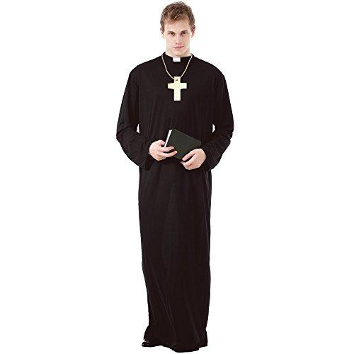 Prayerful Priest Men's Halloween Costume Catholic Cardinal Monk Friar Robes, Brown, X-Large