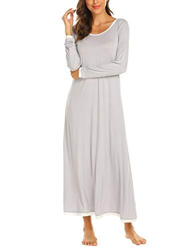 Brinol Damen Nachthemd Sleepshirt Schlafanzug Lang Ärmeln Locker Nachtwäsche Kontrastfarbe voller Länge Nachtkleid (S-XXL), Grau, EU 42(Herstellergröße: XL)