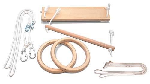 LEORIDO Premium Turngeräte für Zuhause | Schaukel, Trapez und Turnringe für Kinder | Holz | Turnen im Kinderzimmer | Kindersportgerät | Fair produziert | Handmade in Berlin (Natur - weiß)