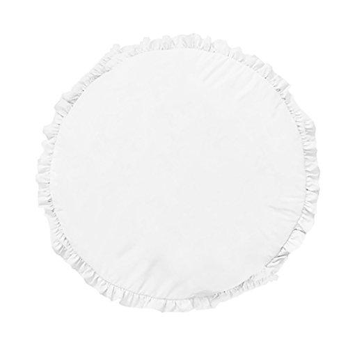 MagiDeal Tapis de Jeu Bébé Enfant en Coton Rond Couverture pour Chambre Salon 100cm - Blanc
