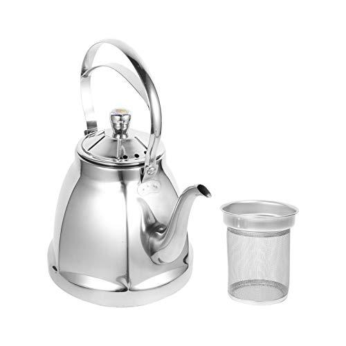 Hemoton 1. Tetera de acero inoxidable 304 de 5 L con infusor extraíble, tetera segura para té de hojas sueltas