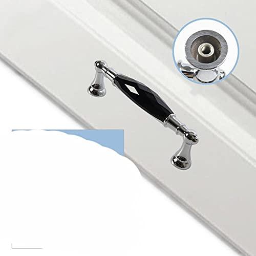 Cajón de aleación de zinc, manija larga plateada de cristal, manijas de armario para tocador, manijas para armario de cocina, pomo de armario, negro 96mm