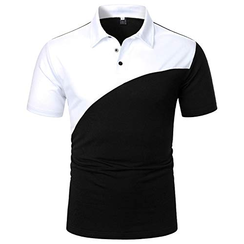 Polo Shirts for Men Lapel Short Sleeve Summer Tee Leisure Performance Contrast Color Patchwork Striped Golf Blouse Tops