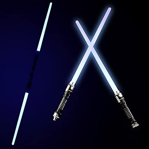 MOMAMOM 2 Pezzi 2 in 1 LED Laser Swords Spada Laser a Doppia Lama Giocattolo per Bambini con Effetti sonori sensibili al Movimento per la Festa di Halloween Regalo di Compleanno di Natale Star Wars