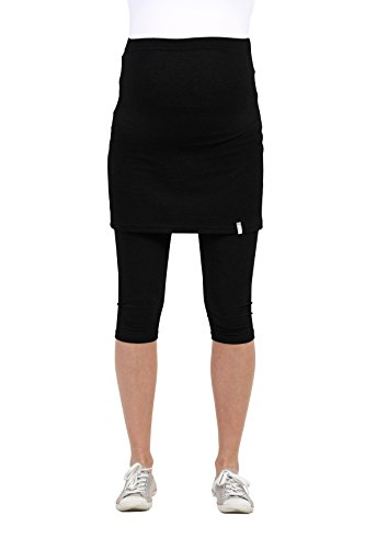 Be! Mama Umstandsleggings mit Rock, hochwertige Baumwolle, Modell PENTI - schwarz, 3/4, XXL