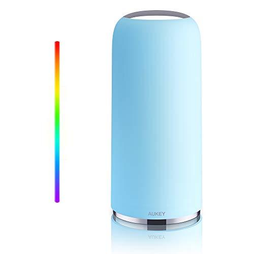 AUKEY Tischlampe RGB Berührungssensitive Nachttischlampe Mit Timer-Funktion, Dimmbares Warmweißes Licht & Farbwechsel, Nachtlicht Mit Memory-Funktion Für Wohn- und Schlafzimmer