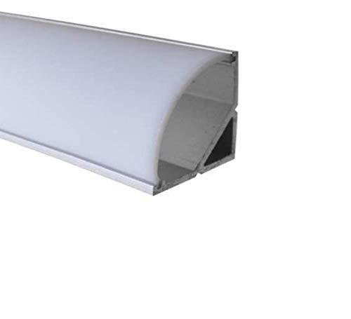 LED Alu Profile Eckprofil eloxiert für 16mm LED-Streifen (z.B. für Philips Hue Led Strip) mit einklickbarer OPALER Abdeckung 200 cm - Spree