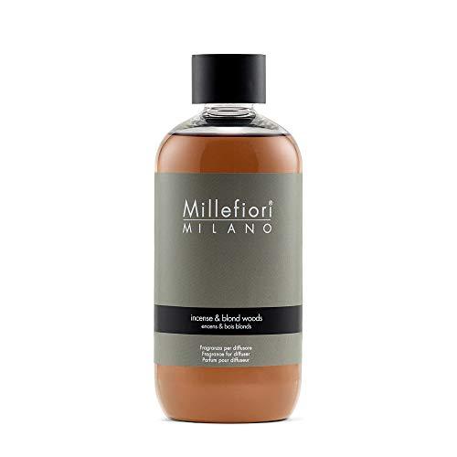Millefiori Milano Ricarica per Diffusore di Aromi per Ambiente, Fragranza, Incense & Blond Woods, 250 ml