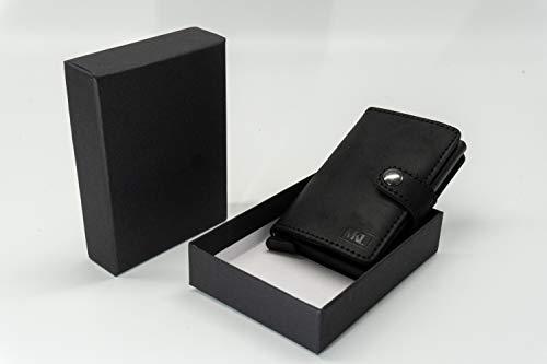 MKL | Mini Geldbeutel | Kartenhalter | Echtes Leder | RFID - Schutz | Platz für Scheine und Münzen (Schwarz)
