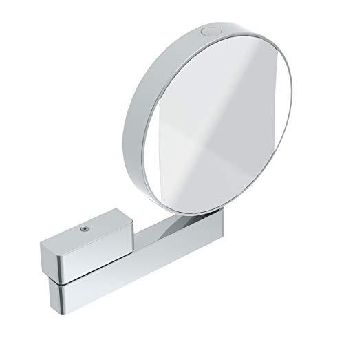 emco Universal LED Kosmetik- und Rasierspiegel am Flexarm, runder Kosmetikspiegel mit Beleuchtung zur Wandmontage,Vergrößerungsspiegel (3-/7-fach) mit einstellbarer Farbtemperatur