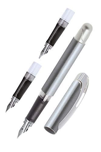 ONLINE Lettering-Set College Metallic Stone, Tinten-Füller für Rechtshänder mit verschiedenen Federn (EF, M, 1,4 mm), ergonomisches Griffstück, Standard-Tintenpatronen, inkl. Kombipatrone blau