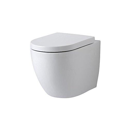 Hudson Reed Ashbury Sanitario WC Sospeso Moderno con Sedile - Ceramica Bianca Glassata - Design da Parete Ovale - 385 x 365 x 555mm