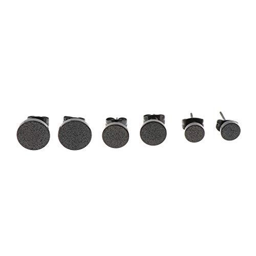 IPOTCH Minimalista Pendientes de Puntos Planos Dainty Circle Disco Ear Ear Pendientes de Acero Inoxidable Desgaste Diario - Negro