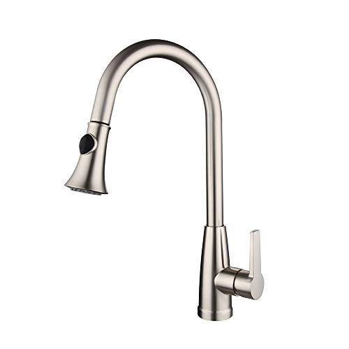 For Sale! Faucet Kitchen Faucets with Pull Down Sprayer Stainless Steel Brushed Nickel Hot & Cold Water Kitchen Sink Faucet with Two-function Nozzle Single Handle Kitchen Faucet with Sprayer Kitchen Sink Faucet