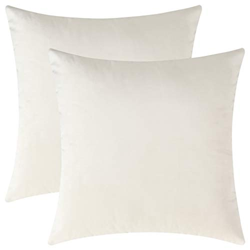Mixhug Set of 2 Cozy Velvet Square Decorative Throw Pillow Covers for Couch and Bed, Cream, 18 x 18 Inches