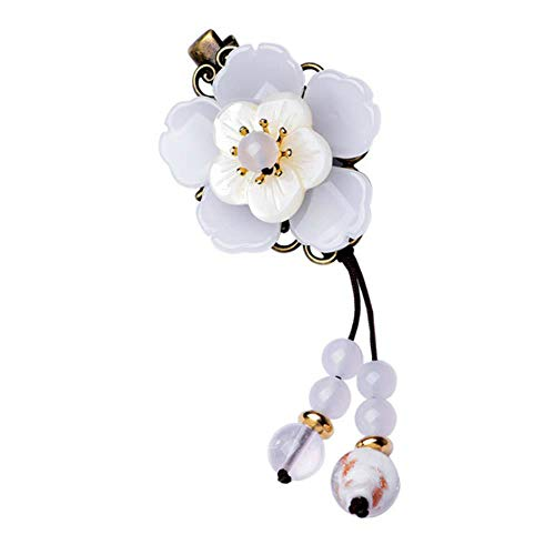 MYQ 1pcs White Shell Flower Hair Jewelry for Women Ethnic Chinese Style Hair Ornaments Crystal Beads Tassel Hairpins Clips 0125