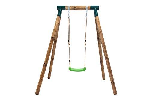 | MASGAMES | Columpio de madera individual KELUT| con asiento plano de plástico y cuerdas regulables | madera tratada | anclajes incluidos | uso doméstico |