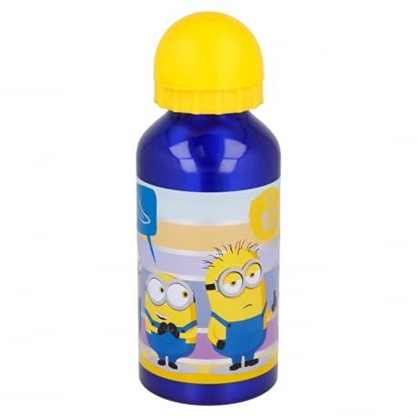 Botella de aluminio para niños, 400 ml, con boquilla retráctil (Minions 2)