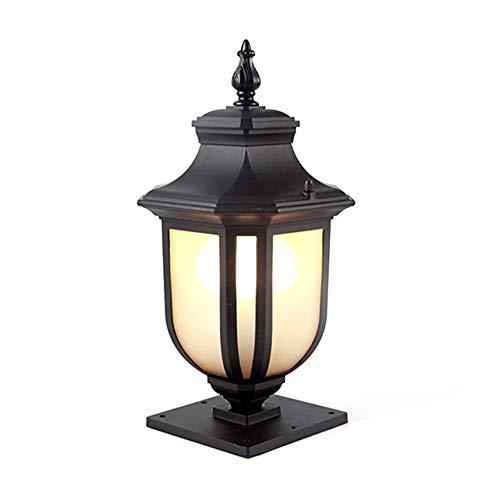 Retro E27 - Lámpara para exteriores (aluminio y cristal, IP44), color negro