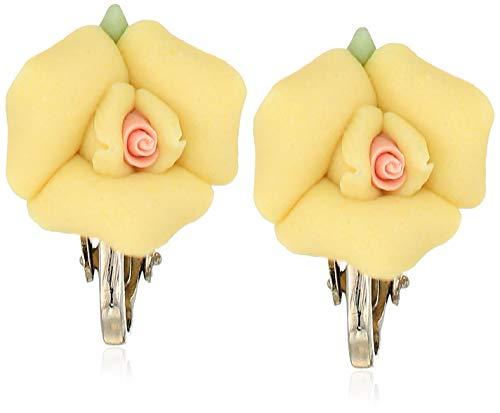 1928 Jewelry レディース シルバートーン イエローとピンクのセンター磁器ローズクリップイヤリング イエロー ワンサイズ