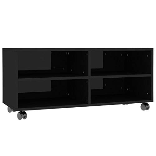 Bulufree Mueble de TV con Ruedas Mesa de televisión gabinete de TV Tablero aglomerado Negro de Alto Brillo 90 × 35 × 35 cm