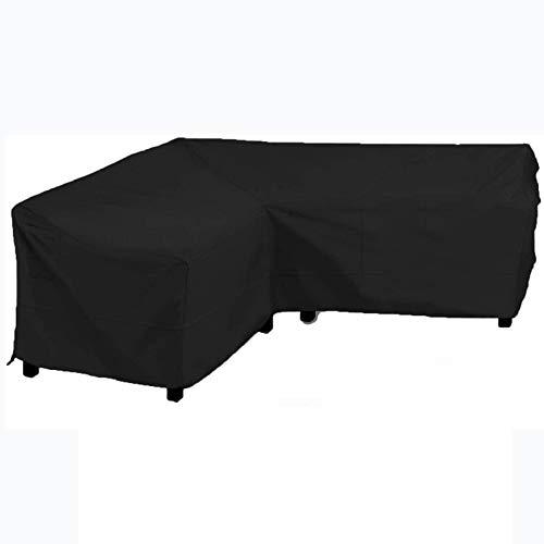 Cubierta De Muebles En Forma De V De Jardín Cubierta De Sofá Anti-UV Impermeable para Muebles De Patio Al Aire Libre Sofá De Ratán,Black-210x270x85cm