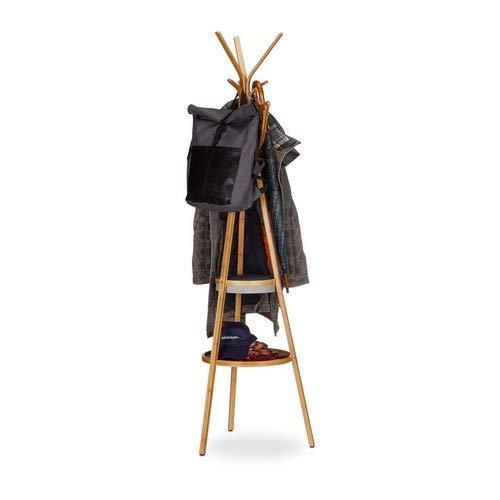 Relaxdays Porte-manteau en bambou avec plateau porte-serviettes rangement 3 bras 6 crochets HxlxP: 171x50x50 cm, nature