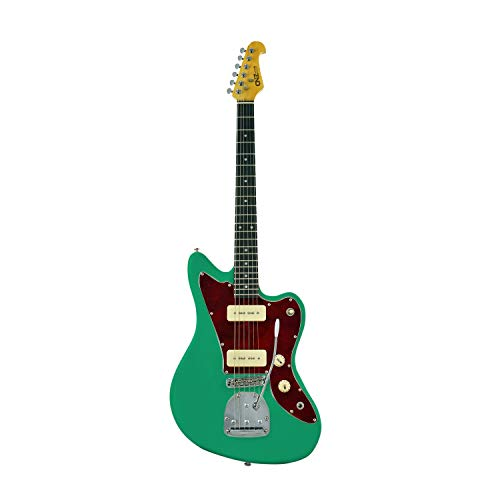 CNZ Audio JM Electric Guitar Emerald Green with 3-Ply Tortoise Pickguard, Maple Neck, Twin P-90 Pickups, Pure Tone Awesomeness!…