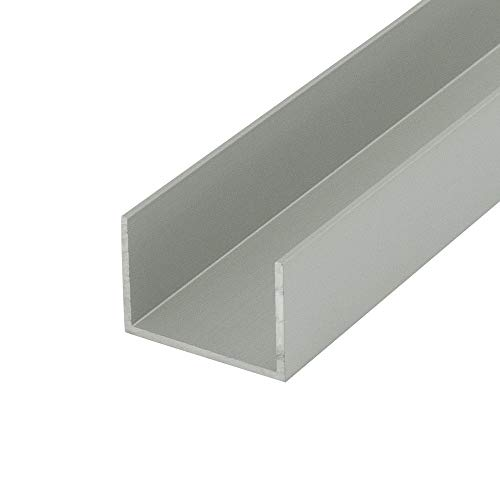 """Outwater Alu448-S Satin Finish 1"""" Inside Dimension Aluminum U-Channel/C-Channel 36 Inch Lengths (Pack of 4)"""