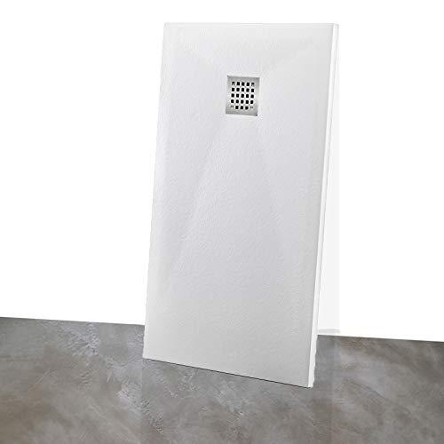 Yellowshop - Piatto Doccia Rettangolare Marmoresina Effetto Pietra Bugnato Bianco, Dimensioni: 80X140 cm