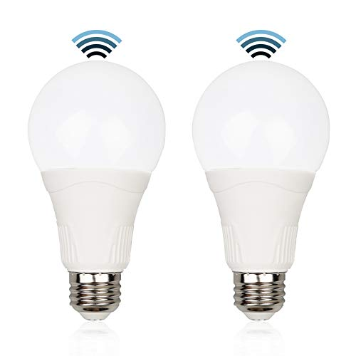 Motion Sensor Light Bulbs Outdoor, 15W (100W Equivalent) 1500LM 3000K Warm White, Radar Motion Detector, A21 E26 Dusk to Dawn LED Bulb for Indoor, Garage, Front Porch, Driveway, Patio, (2 Pack)