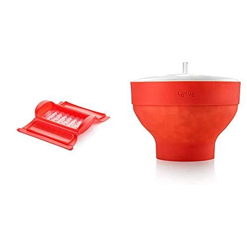 Lékué - Estuche de vapor con bandeja, 1-2 personas, color rojo + Recipiente para cocinar Palomitas, Rojo, 20 cm