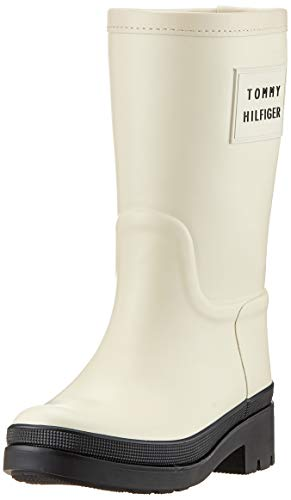 Tommy Hilfiger Damen Warmlined Rainboot Stiefeletten, Weiß (Cream 909), 38 EU