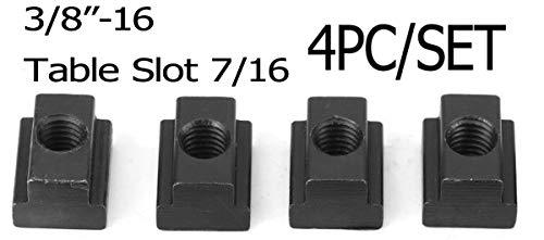4PC Set T-Slot Nut Black Oxide Finish 3/8-16 Threads Table Slot 7/16