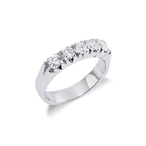 Gioielli di Valenza - Anello Veretta a 5 pietre in Oro bianco 18k con diamanti ct. 0,90 - FE5SA090BB - 9