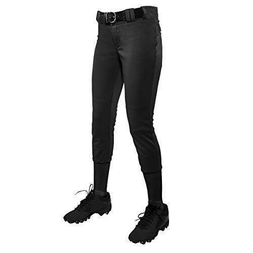 CHAMPRO Youth Tournament Traditional Low-Rise Polyester Softball Pant, X-Large, Black
