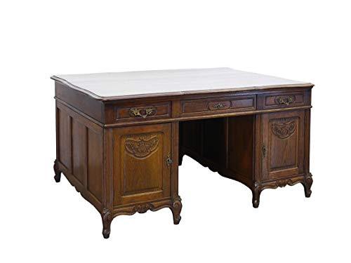 Antiker Partner-Schreibtisch aus massiver Eiche | Schreibtisch Partnerdesk Schreibmöbel | Louis Philippe um 1870 | B: 150 cm (9587)